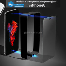 Guangzhou 0.3mm clear transperant screen Protector mobile tempered glass for iphone6