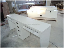 Professional quality solid surface nail salon furniture,white nail manicure marble top table