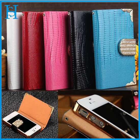 Stock Case,Manufactory Superior Leather PU Wallt Style Card Case for iPhone 4