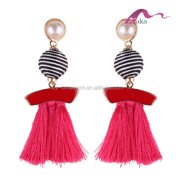 AMAZON HOT SELLING BIG WOMEN EARRINGS,COLORFUL STRINGS TASSELS PEARL DROP PUNK EARRINGS