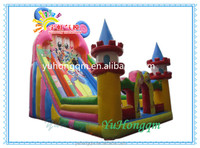 High quality inflatable slide game with cartoon characters castle combo