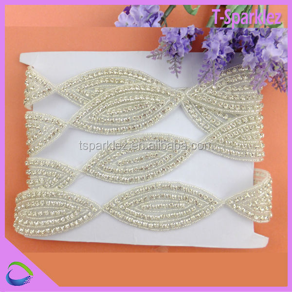 Handmade Beaded Beautiful Bridal Rhinstone Applique Trims