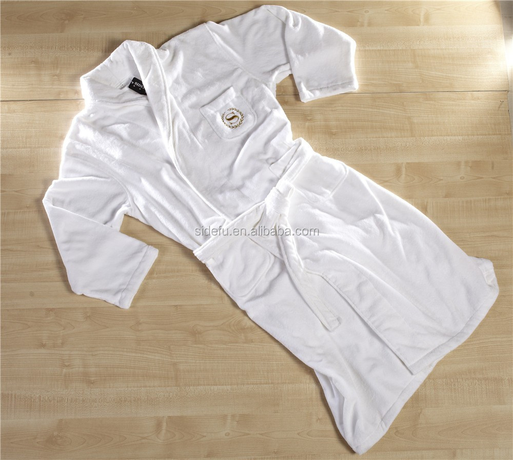 Good Quality White Unisex Velvet Velour Terry Lined Hotel Bathrobe