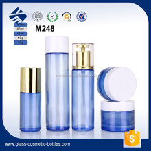 2017 Blue Empty 100ml cosmetic glass Lotion/ Emulsion /Serum Bottle and 120ml glass Cream Jar