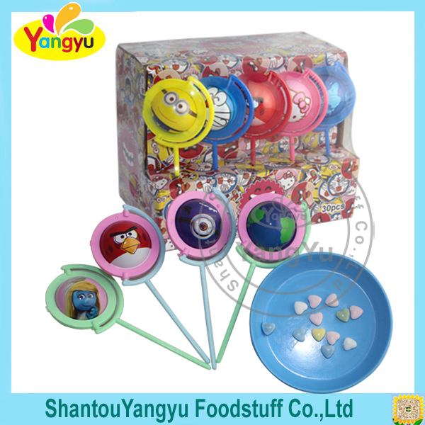 Cartoon Globe Toy Lollipop with Delicious Sweet Tablet Candy