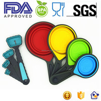 New 8 piece 100% food grade silicone collapsible folding measuring cup and spoon set