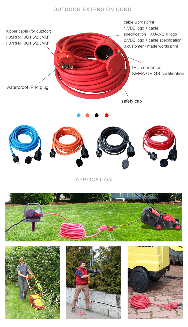 XUANSHI european standard VDE outdoor waterproof rubber cable electrical power extension cord