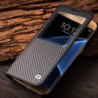 QIALINO Amazon Top Grid Pattern Case Thin New Premium Leather Case W/ Window View For Samsung Galaxy S7/Edge Mobile Phone