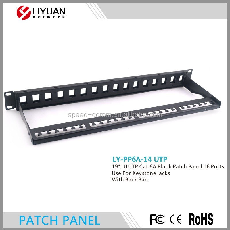 LY-PP6A-14 UTP Cat6A Mini DISTRIBUTION panel 16 Port Keystone Jack Patch Panel with back bar
