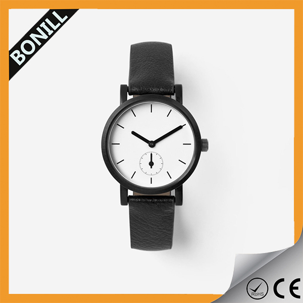 Design your logo wholesale genuine cow leather with small dial custom wrist watch