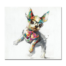 Modern Colorful Happy Dog Canvas Wall Art Animal Oil Painting Wear Glasses