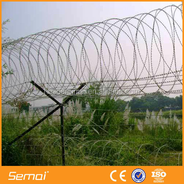 Concertina/Hot Dipped Galvanized Razor Barbed Wire/Airport Fencing