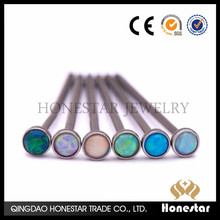 Wholesale Surgical Steel Nose Ring Screw L Bend Straight 2mm Opal Stone piercing jewelry