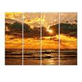 Multi Panels Modern Art Paintings/Seascape Wall Pictures for Interior Room/Sunrise on Beach Canvas Framed