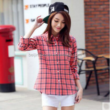 2016 New model blouse spring brand top ladies long sleeve checked latest shirt designs for women