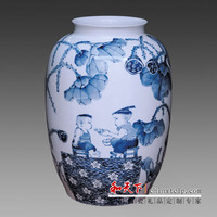 1 meter Tall Blue white porcelain antique crackle glazed floor flower Vase with kids design