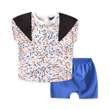 S64377A Korean Summer Children clothing set Baby boys t shirts+casual pants suit