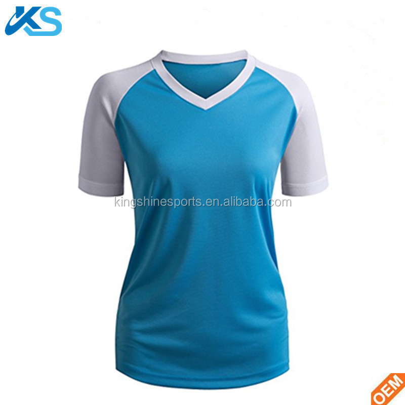 Manufacturer 100% Polyester blend Mesh Dry Fit Raglan Sleeve V Neck Two Tone Leisure Women t shirt