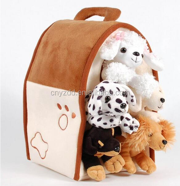 wholesale Plush Dog House -Five Stuffed Animal Dogs in Play Dog House Carrying House