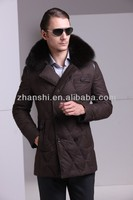 Lightweight Men's Winter Long Leather Detail Quilted Field Jacket With Fur Collar