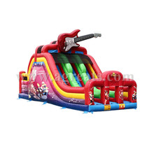 PVC red inflatable slide music theme with guitar,inflatable double lane dry slide with best quality G4067