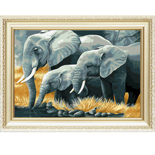 Elephants design wall oil abstract paint by numbers