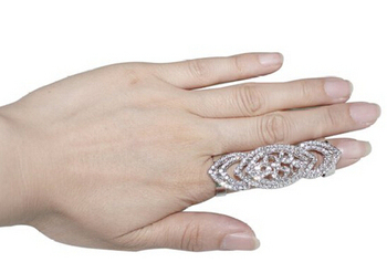 Celeb's Rhinestone Armor Jewelry Knuckle Adjustable Hinged Long Double Full Finger Ring
