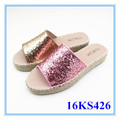 Colorful glitter slipper lady flat espadrilles