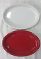 14'' stock embossed design color glazed fish plate