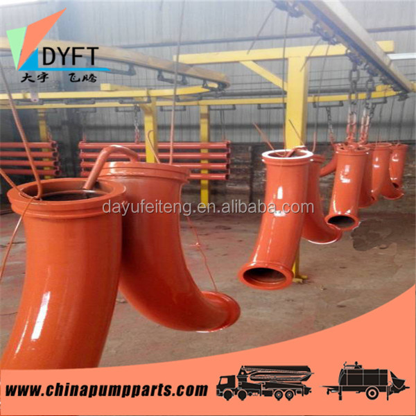 concrete pump truck construction spare parts twin walls DN125 long working life long radius r275 90 degree dn100 elbow