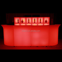 4 piece indoor sectional rechargable cocktail pub furniture hard LED plastic bar counter