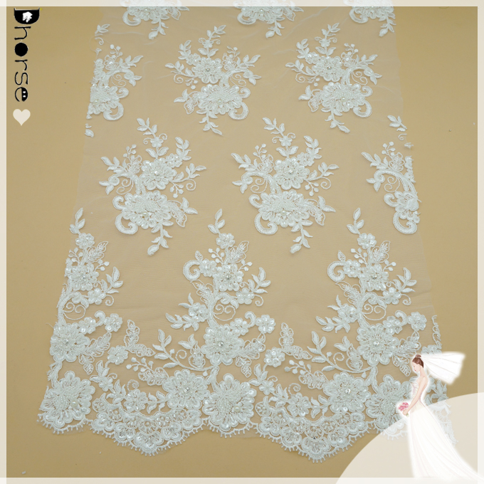 High quality white & ivory beaded sequined bridal lace fabric DH-BF688