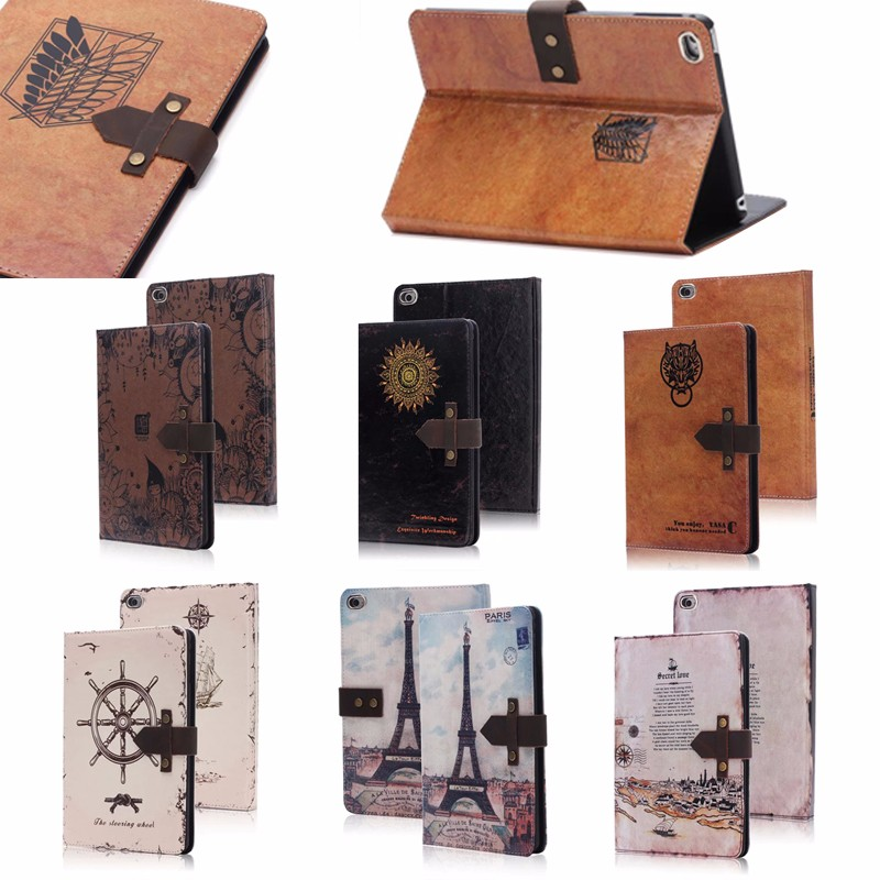 business style retro Leather wallet cover for iPad Mini4 , for iPad Mini 4 case leather