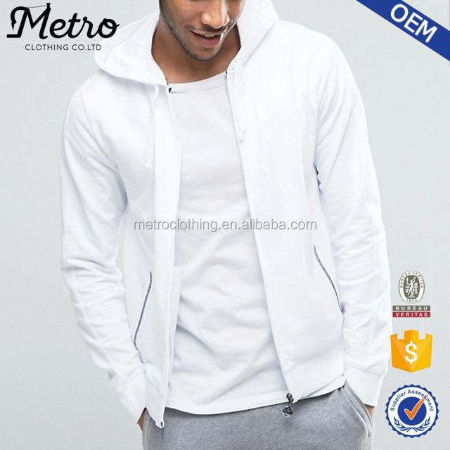 High Quality Fashion Casual Men's White Zipper hoodies