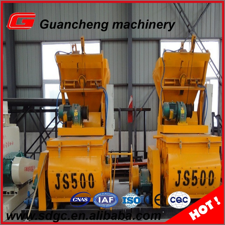 twin shaft concrete mixer spare parts JS500 concrete mixer machine with lift
