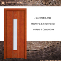 On sale meeting room double swing open style solid wood door with glass