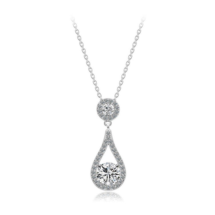SJNEC024 Best Selling Products Accessories For Women Delicate Style Eco-friendly Brass Cubic Zirconia Teardrop Necklace