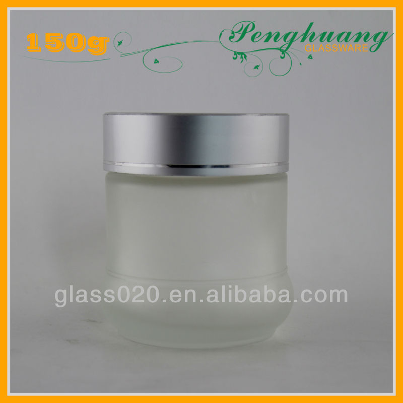 big volume makeup glass jar with silver lids
