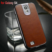 Manufacture supplier Hot selling high quality PU +PC leather chrome back cover case for samsung galaxy s4 i9500