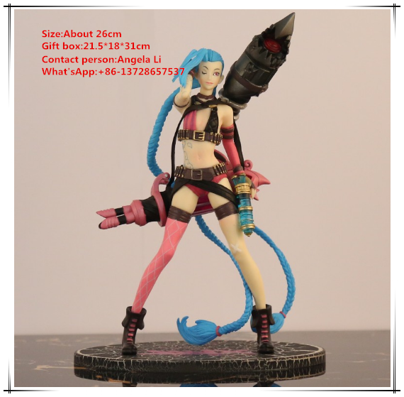 Game Toys Jinx action figure LOL Jinx PVC dolls 26cm Jinx League of Legends Collectble action Figure