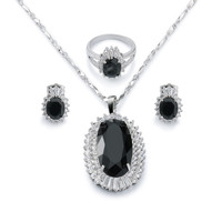 Gold plated black oval cut gemstone rhinestone bridal jewelry sets necklace ring earrings for women girls party anniversary