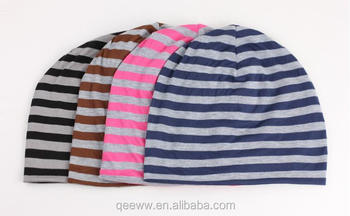 Summer Ladies striped knitting hat maternal cap protective nightcap thin beanie hat