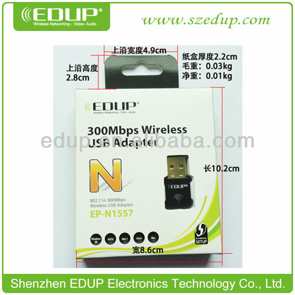 EDUP Latest Network Card-802.11N 300Mbps Wireless USB Adapter,Wifi DongleEP-N1557 Wireless Usb Wlan Adapter 802.11n