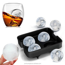Food-grade silicone Four ice hockey Ice box whisky bartender ice ball mold