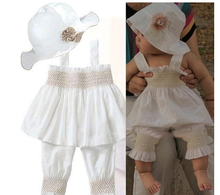 Ins hot style Princess Baby Ruffled Top+Pants+Hat Set 3 Pieces Outfit Girls Kids Clothes 0-3Y cotton clothes
