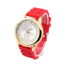 2015 fashion silicone watch set with date factory FOB price sent fast