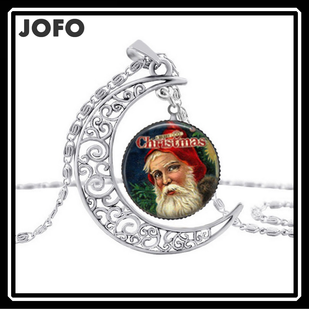Moon Alloy Holiday decorations Santa Claus Pendant Necklace For Christmas
