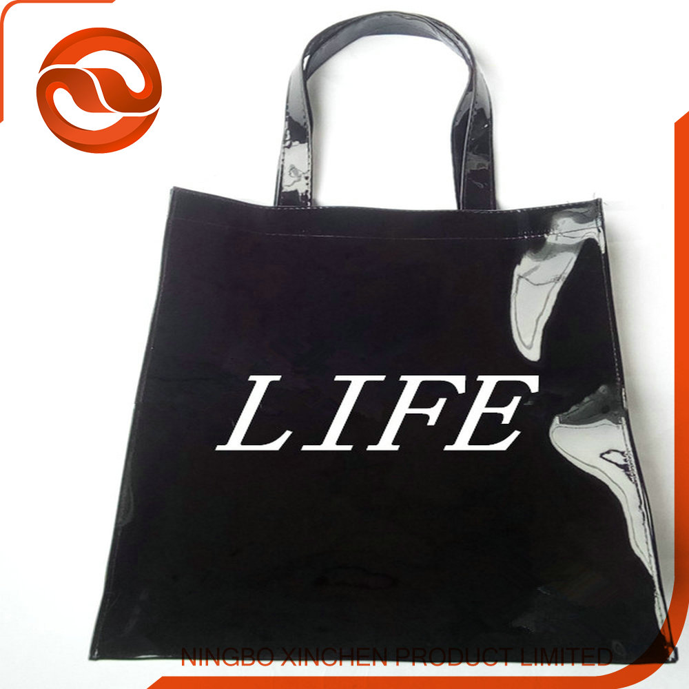 Waterproof Black PU Material Handle Tote Bag