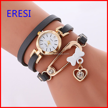 Fashion Heart Charm Leather Bracelet Watch With Stainless Steel Case Back Lady Quartz Wrist Watch