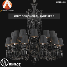 Baccarat Classical 24 Light Black Crystal Chandelier with Lampshade